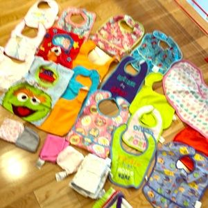 Other - Assortment of bibs, burp cloths and wash cloths